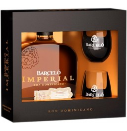 "Ром Ron Barcelo, ""Imperial"", gift box with 2 glasses, 0.7 л"